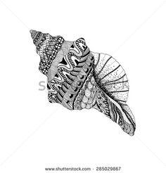 Zentangle stylized black sea cockleshell. Hand Drawn aquatic doodle vector illustration. Sketch for tattoo or makhenda. Seashell collection. Ocean life. - stock vector