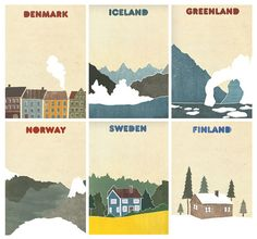 Denmark, Iceland, Greenland, Norway, Sweden and Finland. Norway Sweden Finland, North Europe, Scandinavian Countries, Vintage Travel Posters, Adventure Is Out There, Illustrations, Iceland, Wanderlust, Sweden Travel