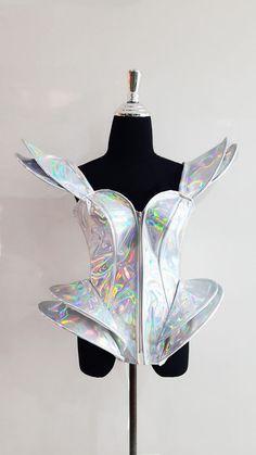Shiny white futuristic astronaut women's showgirl corset costume custom size #Unbranded