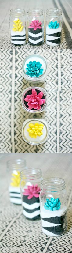 Sand Art and Painted Succulent Terrariums - DIY Candy These sand art terrariums are a perfect pairing of a craft you loved as a kid combined with trendy succulents! It's really easy to do with any colors. Terrariums, Succulent Terrarium, Terrarium Wedding, Terrarium Ideas, Handmade Crafts, Diy Crafts, Room Crafts, Colored Sand, Sand Art