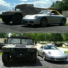 Yin and yang of #P3Autokrafte.  #AMGeneral #HMMWV and #Porsche911 #Carrera4