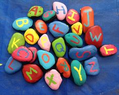 Painted Alphabet Rock Magnets
