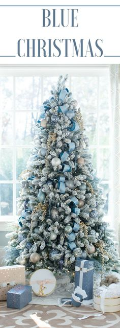 Decorating the house for Christmas can be so fun! I love the color blue so I chose to decorate our living room Christmas Tree in shades of blue. Using blue ribbons and blue Christmas tree ornaments the color was a change and the result a beautiful blue Ch Silver Christmas Decorations, Flocked Christmas Trees, Beautiful Christmas Trees, Christmas Tree Themes, Glass Christmas Ornaments, Christmas Holidays, Holiday Decor, Christmas Mantles, Christmas Villages