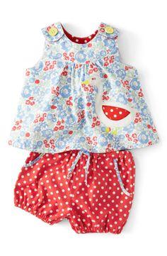 Mini Boden Appliqué Top & Shorts (Baby Girls)