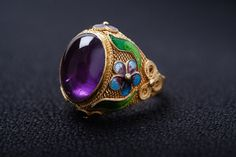 Metal: Fine Silver core with gold plated surface Stone:Amethyst Color: Gold Mass: Length = width = height = Filigree Jewelry, Filigree Ring, Silver Filigree, Wire Jewelry, Jewelry Box, Amethyst Color, Ancient Jewelry, Pretty Rings, Enamel