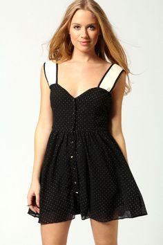Sophia Sweetheart Neck Button Through Skater Dress at boohoo.com