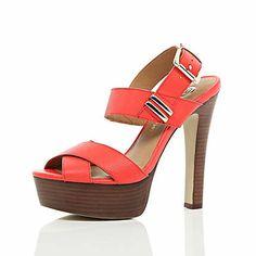 Bright orange strappy platform sandals £55.00 River Island