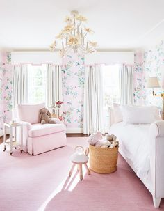 Amy Berry Designed Dallas Home Pink Little Girls Bedroom Dallas, Of Wallpaper, Girls Bedroom Wallpaper, Flowery Wallpaper, Bedroom Girls, Girl Bedroom Designs, Comfortable Sofa, Pink Room, Diy Home