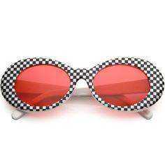 ecf9b41b0c Retro 1990 s Rad Clout Goggle Checkered Colored Lens Oval Sunglasses... ❤  liked on