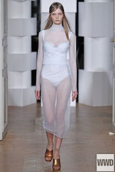 (1) Tumblr Léa Peckre for Maison Lejaby RTW Fall 2014 Photo by Giovanni Giannoni Inspired by lingerie, Peckre showed a feminine lineup that played with the idea of transparency and second-skin comfort.
