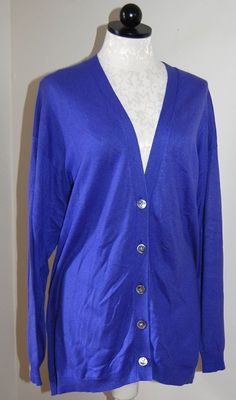 LL BEAN 100% Cashmere Blue Green Trim Cardigan Sweater M #LLBEAN ...