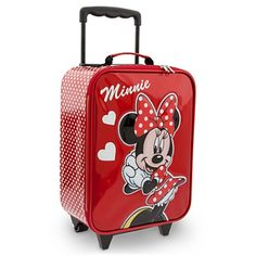 She'll pack-up the smiles for a Disney Parks visit in Minnie's glittering vinyl suitcase with polka dot pattern. This rolling flight bag is fronted with a pretty Minnie appliqué and makes the perfect sized overnight case too! Disney Luggage, Kids Luggage, Disney Travel, Luggage Bags, Travel Luggage, Travel Bags, Minnie Mouse Suitcase, Red Minnie Mouse, Disney Parks