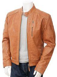Mens Tan Biker Leather Jacket: Beaford