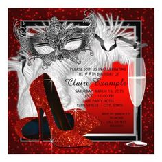 Masquerade Party Invitations Womans Red and Black Masquerade Birthday Party Card
