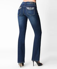 Take a look at this Tru Luxe Dark Blue Copenhagen Bootcut Jeans - Women by Tru Luxe Jeans on #zulily today!