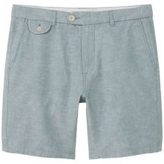 Linen-Cotton Blend Bermuda Short (2890 DZD) ❤ liked on Polyvore featuring men's fashion, men's clothing, men's shorts, mens linen shorts and mens bermuda shorts