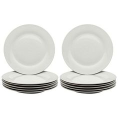 White Wide Rimmed Dinner Plates - 268mm (10.5) - Box of 12