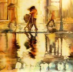 """Oblivion"" silk painting by Lena Korolyuk"