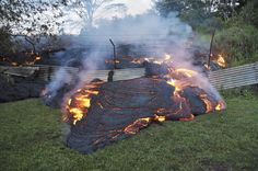 Kilauea: The lava flow burns vegetation as it approaches a property boundary in a U.S. Geological Survey (USGS) image taken near the village of Pahoa, Hawaii, October 28, 2014.