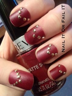 nailitorfailit:  Red matte nail polish with gold...