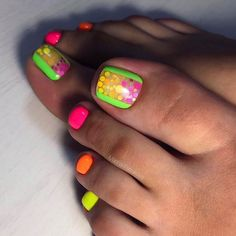 Neon Colors Mix for Toe Nail ❤ See more ideas on our blog!! #naildesignsjournal #nails #nailart #naildesigns #toenails #toenailcolors #pedicure #toes Neon Toe Nails, Toe Nail Color, Summer Toe Nails, Toe Nail Art, Nail Colors, Colorful Nail Art, Classic Nails, Coffin Shape Nails, Toe Nail Designs
