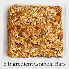 This recipe for 6 Ingredient Granola Bars is delicious and healthy. It is friendly to the Mediterranean Diet and also can be made gluten free and vegan. Healthy Granola Bars, Muesli Bars, Homemade Granola Bars, Healthy Bars, Homemade Muesli, Healthy Snacks, Healthy Eating, Healthy Recipes, Sugar Free Peanut Butter
