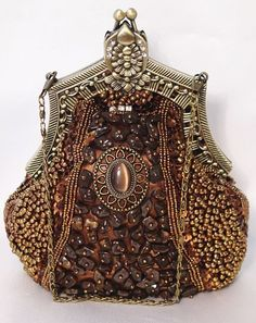 Brown Bronze Victorian Style Fully Beaded Crystal Evening Bag
