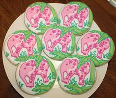 Lilly Pulitzer inspired Elephant cookies.  If only we could get these!  They match the invitations!