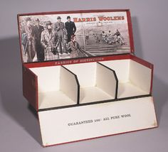 """Harris Woolens store display with football decor c.1940's. Large 28"""" long paperboard sectional box for store display of the product featuring a full color football game scene on lid interior. Very clean with minimal overall wear. $190"""