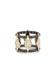Hematite and Gold-Tone Rhinestone Ring | GUESS.com