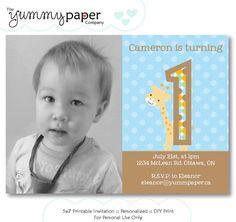 Jungle Giraffe Birthday Invitation  Custom Printable by yummypaper
