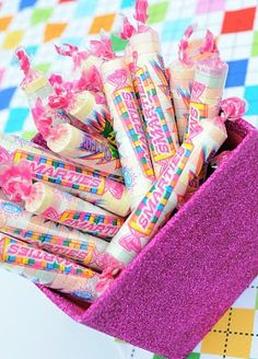 Smarties make the perfect addition to a Bookworm-ette Birthday party!  Sweet encouragement to read more books :)