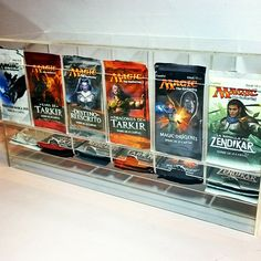 First acrylic design: Boosters pack dispenser. Full of Magic The Gathering…