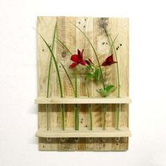 Blumen Wandregal Reagenzgläser aus Paletten. Holz wood Diy Wanddekoration Dekoration