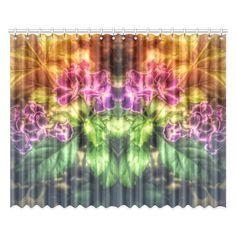 "Purple Flowers Window Curtain 52""x84""(Two Pieces)."