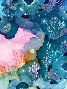 """Juxtapoz Magazine - Yellena James Returns To Stephanie Chefas Projects With Her Aptly Titled Solo Show """"Immerse"""" Art Inspo, Painting Inspiration, Ink Painting, Watercolor Paintings, Coral Painting, Yellena James, Dibujos Zentangle Art, Art Et Illustration, Alcohol Ink Art"""