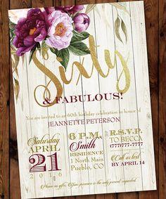 60 & Fabulous Birthday Invitation 80th 70th 60th 50th