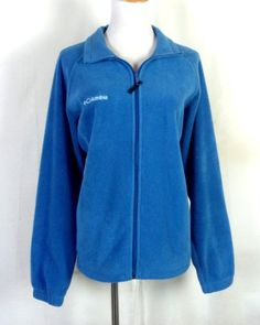 euc Columbia Blue Full Zip Up Fleece Jacket nice Women's L #Columbia #FleeceJacket