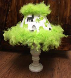 Animal print lamp lime green black giraffes green boa trim by HolyChicBoutiqueCo on Etsy
