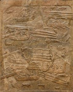 Transport of Lebanese cedar. Low-relief from the North wall of the main court, palace of Sargon II at Dur Sharrukin in Assyria (now Khorsabad in Iraq