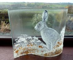 Going with the flow- hare painting on glass