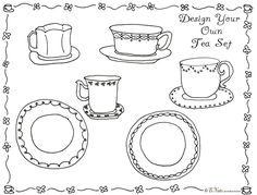 design your own tea set coloring sheet for a tea party from - Princess Tea Party Coloring Pages