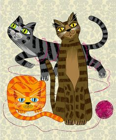 iOTA iLLUSTRATION  Three Cool Cats  Animal Art by iotaillustration