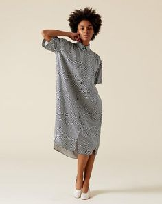 2a84b9756848 6397 Oversized Shirt Dress in Black and White Printed Silk Oversized Shirt  Dress