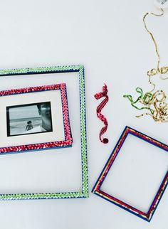 DIY sequin photo frames
