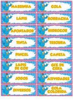 Etiquetas para a organização do material escolar, agora com o tema da Galinha Pintadinha.   Uma dica, se puder, imprima em papel adesivo...