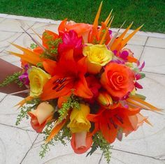 Birds of paradise simple centerpiece add some large tropical ...