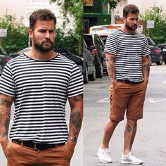 Look masculino com camiseta listrada, bermuda marrom e tênis branco Mode Masculine, Masculine Style, Large Men Fashion, Urban Fashion, Mens Fashion, Short Outfits, Outfits For Teens, Casual Outfits, Stylish Men