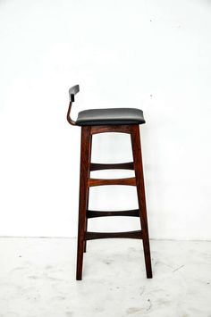 Rosewood and Leather Bar Stools, Denmark, 1960s image 8