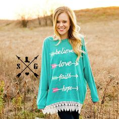 Turquoise Inspirational Arrow Tunic Lace underlining. True to size. Loose fitting. @enchantedranchboutique